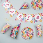 Набор бумажной посуды «С днём рождения. Шары», 6 тарелок, 6 стаканов, 6 колпаков, 1 гирлянда - фото 951421