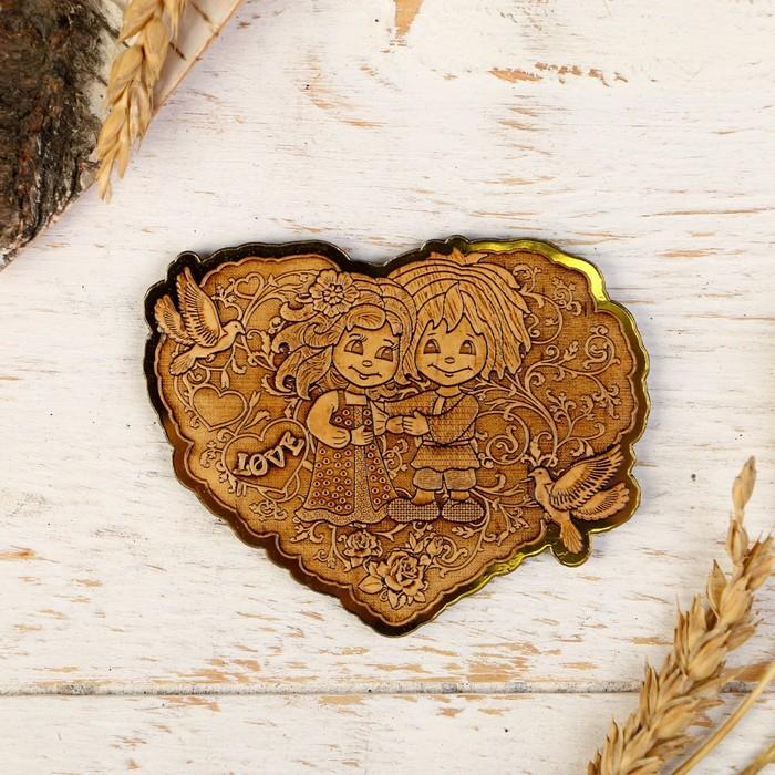 """Магнит вырезной """"Сердце-Любовь"""", береста, золотой, 9х6,7 см"""