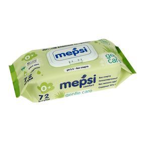 Влажные салфетки детские Mepsi с экстрактом алоэ вера и зелёный чай, 72 шт.
