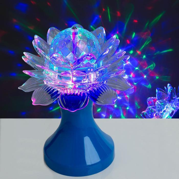 """Световой прибор хрустальный шар """"Цветок"""" диаметр 12,5 см, 220 В, СИНИЙ"""