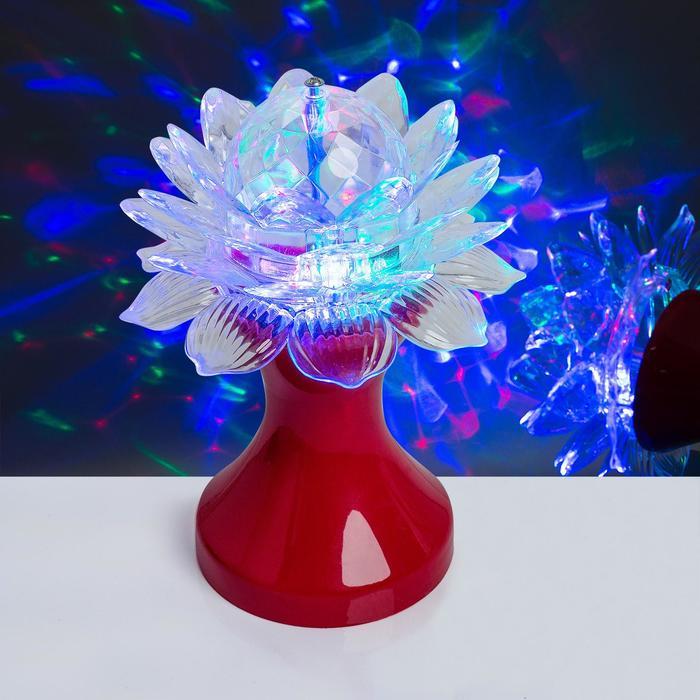 """Световой прибор хрустальный шар """"Цветок"""" диаметр 12,5 см, 220 В, КРАСНЫЙ"""