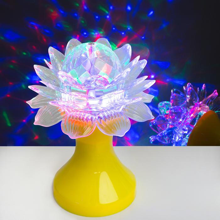 """Световой прибор хрустальный шар """"Цветок"""" диаметр 12,5 см, 220 В, ЖЁЛТЫЙ"""