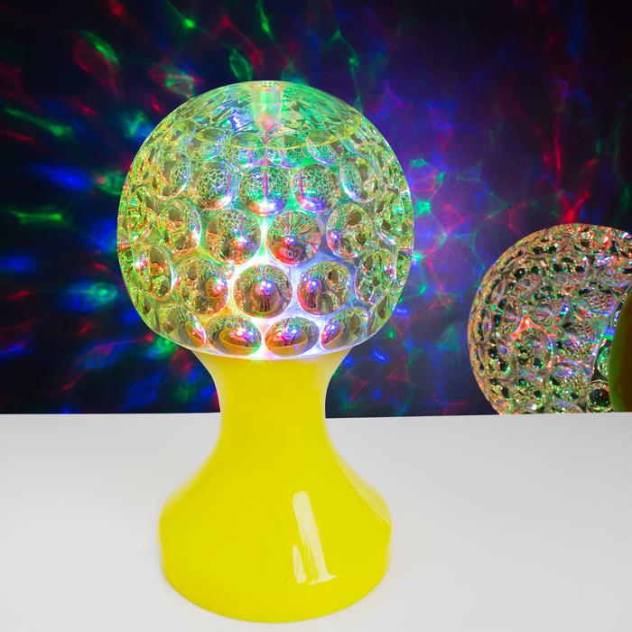 Световой прибор «Хрустальный кубок», диаметр 10 см, 220 В, цвет жёлтый