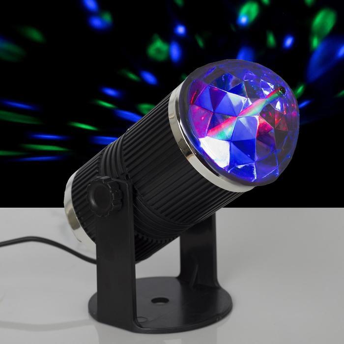 Световой прибор хрустальный шар, 3 LED, 3 Вт, 220 В, реагирует на звук