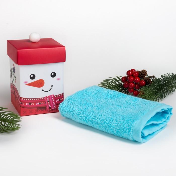 """Махровое полотенце """"Дед Снеговик"""" 30х30 см, хлопок 340гр/м2"""