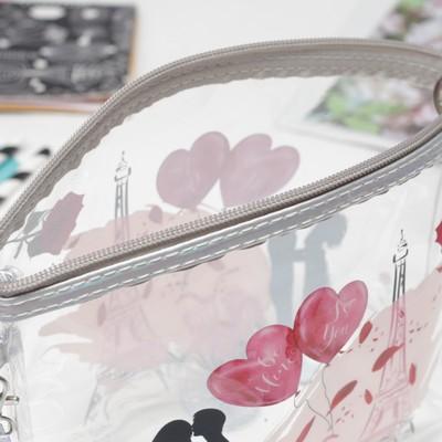 Косметичка ПВХ, отдел на молнии, с ручкой, цвет серый/розовый