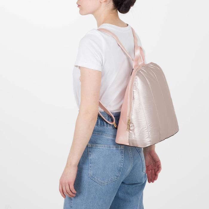 Рюкзак молодёжный, отдел на молнии, цвет перламутр пудра - фото 416995504
