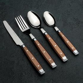 Набор столовых приборов «Аппетит», 24 предмета, цвет коричневый
