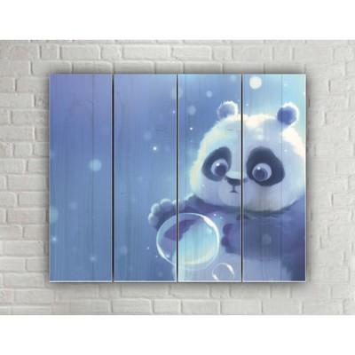 "Картина на дереве в стиле Loft ""Весёлая панда"""