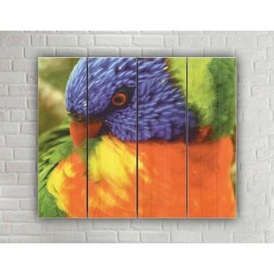 """Картина на дереве в стиле Loft """"Бразильский попугай"""" № 3.71, 37*30 см"""