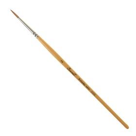 Кисть микс «Сонет» № 2, колонок, круглая, короткая ручка, d=2 мм, покрытая лаком
