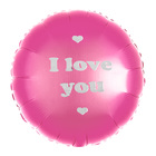 """Balloon foil 18"""" I love you, color pink"""