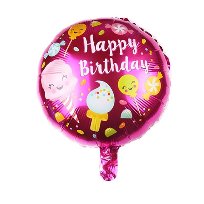 """Шар фольгированный 18"""" """"С днем рождения"""", сладости, круг, цвет розовый - фото 308473606"""