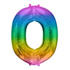 """Шар фольгированный 16"""" Цифра 0, 1 шт, разноцветный - фото 308473609"""