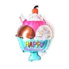 "Balloon foil 14"" ""happy birthday"", a ramekin of ice cream, a"