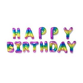 """Шар фольгированный 16"""" """"С днем рождения"""", заглавные буквы, разноцветный"""