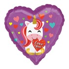 "Balloon foil 18"" I love you, unicorn, heart"