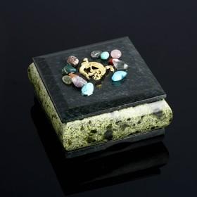 "Шкатулка ""Самоцветы"", 10х10х6 см, змеевик"