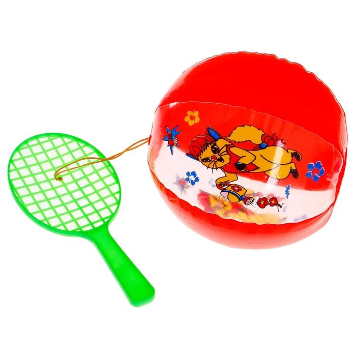 """Игрушка со звуком """"Надувной мяч с ракеткой"""" 30 см, цвета МИКС"""