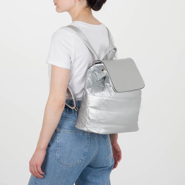 Рюкзак молодёжный, отдел на шнурке, цвет перламутр серебро - фото 415622482