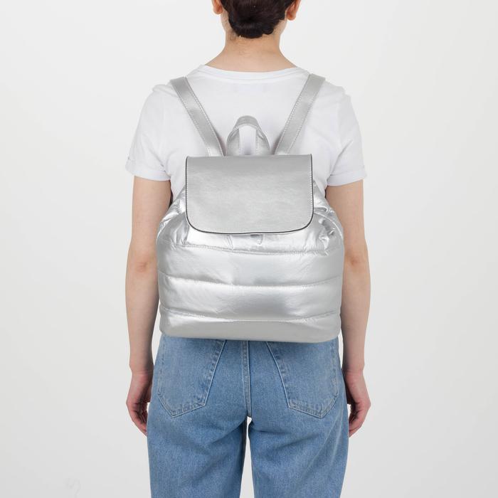 Рюкзак молодёжный, отдел на шнурке, цвет перламутр серебро - фото 415622483