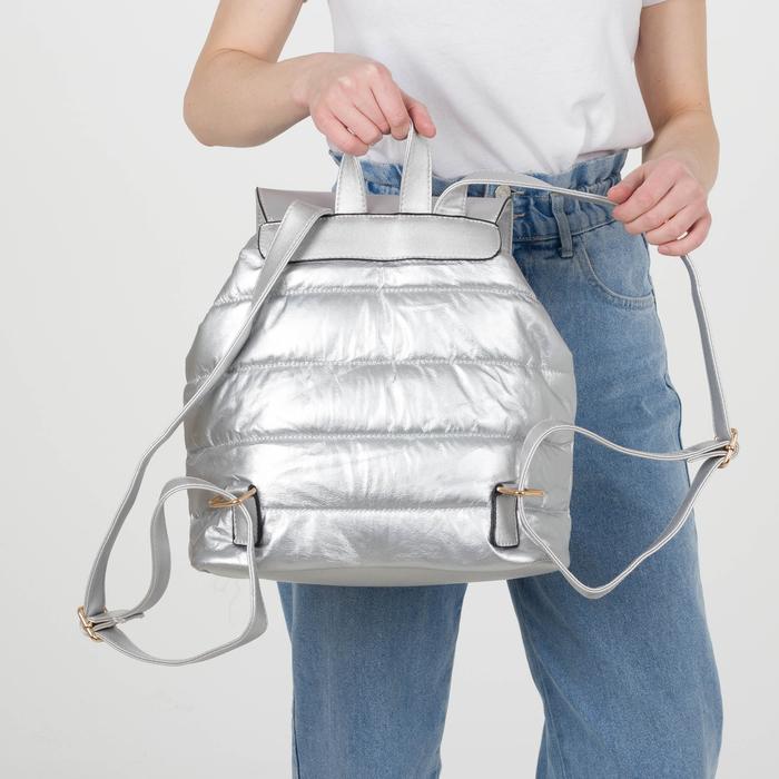 Рюкзак молодёжный, отдел на шнурке, цвет перламутр серебро - фото 415622484
