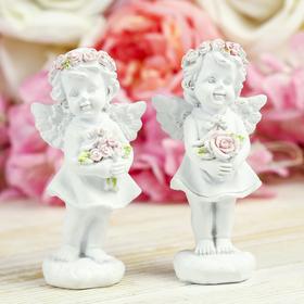 """Сувенир полистоун """"Ангел-девочка в розовом венке с розами"""" МИКС 10х5,2х3,3 см"""