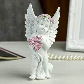 """Сувенир полистоун """"Ангел в розовом венке с сердцем из роз"""" МИКС 15х7,8х5,5 см в Донецке"""