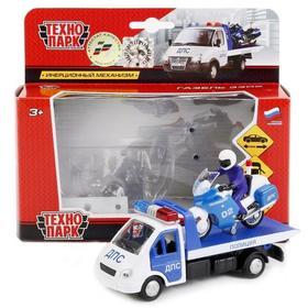 Набор металлических машинок полиции: Газель эвакуатор,12,5 см, Мотоцикл, 7,5 см