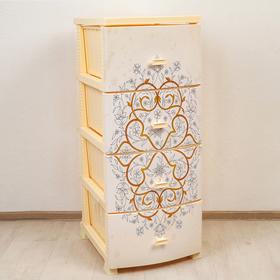 Комод 4-х секционный «Декор. Восточный узор», цвет слоновая кость