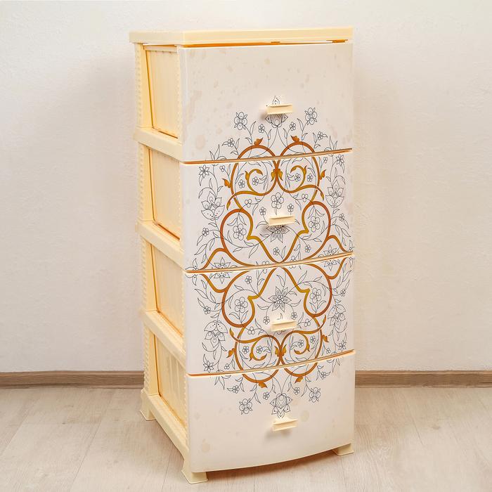 Комод 4-х секционный «Декор. Восточный узор», цвет слоновая кость - фото 308329505