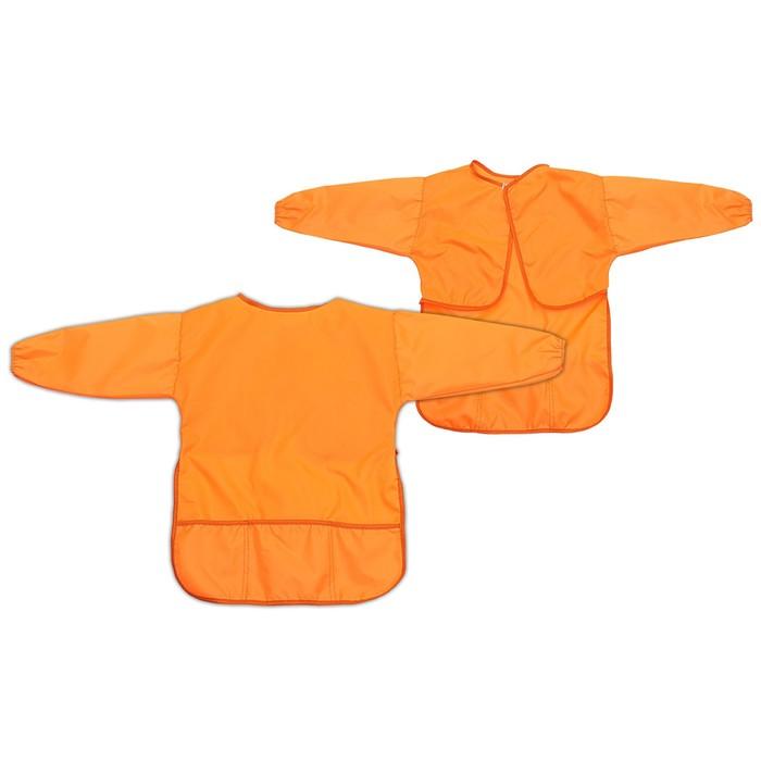 Фартук-накидка с рукавами для труда 610х440 мм Calligrata 3 кармана, оранжевый