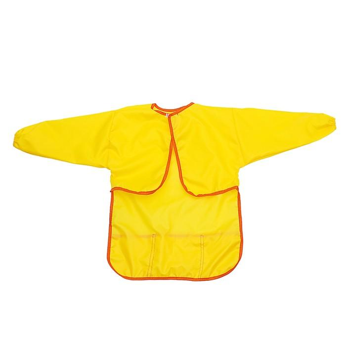 Фартук-накидка с рукавами для труда 610х440 мм Calligrata 3 кармана, жёлтый