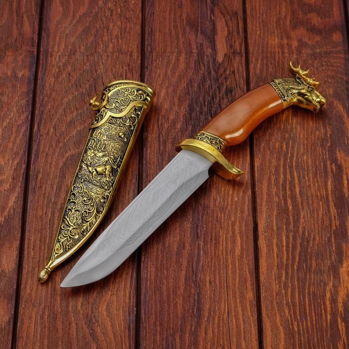 Сувенирный нож, рукоять под дерево с головой лося, ножны расписные, 6*32см