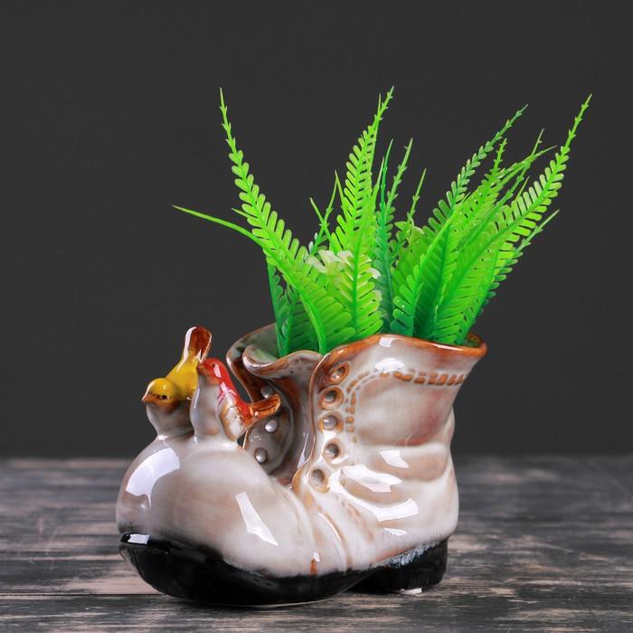 """Кашпо керамическое """"Ботинок с птичками бежевый"""" 8*13*10 см - фото 1692952"""