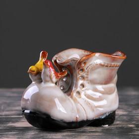 """Кашпо керамическое """"Ботинок с птичками бежевый"""" 8*13*10 см - фото 1692953"""