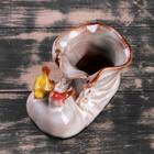 """Кашпо керамическое """"Ботинок с птичками бежевый"""" 8*13*10 см - фото 1692955"""