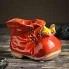 """Кашпо керамическое """"Ботинок с птичками красный"""" 8*13*10 см - фото 821890"""