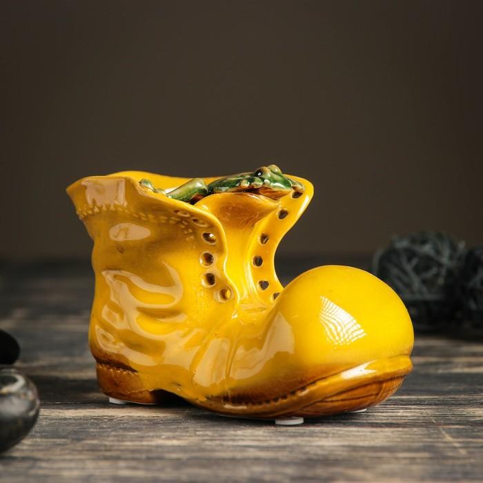 """Кашпо керамическое """"Ботинок с лягушкой желтый"""" 8*13*10 см - фото 821893"""