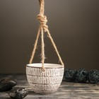 Кашпо керамическое подвесное белое 10*10*8 см - фото 1692989