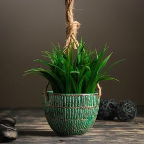Кашпо керамическое подвесное зеленое 10*10*8 см - фото 1692993