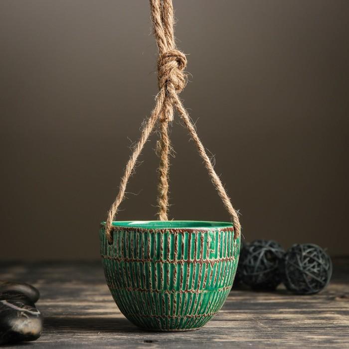 Кашпо керамическое подвесное зеленое 10*10*8 см - фото 1692992