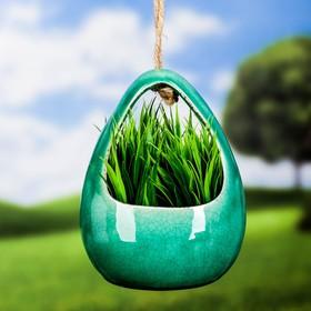 """Кашпо керамическое подвесное """"Корзинка"""" зеленое 13*11*18 см - фото 1692996"""