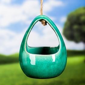 """Кашпо керамическое подвесное """"Корзинка"""" зеленое 13*11*18 см"""