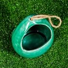 """Кашпо керамическое подвесное """"Корзинка"""" зеленое 13*11*18 см - фото 1692997"""