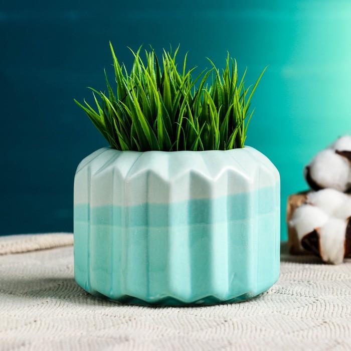 Кашпо керамическое зеленое 11*11*9 см - фото 821925