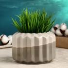 Кашпо керамическое серое 11*11*9 см - фото 821928