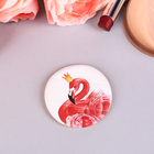 Puff, puff for makeup Flamingo with holder, d=5,3*0.5 cm
