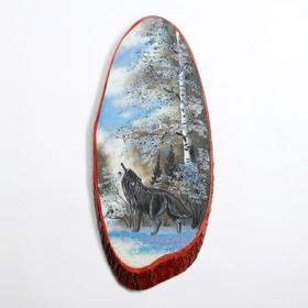 """Панно на спиле """"Зима. Волк"""", 57-62 см, каменная крошка, вертикальное"""