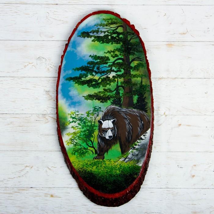 """Панно на спиле """"Лето. Медведь"""", 57-62 см, каменная крошка, вертикальное - фото 798114595"""